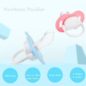 Newborn Baby Pacifier Soft Silicone Flat Pacifier