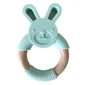 Silicone Bunny Teether with Wood Ring
